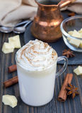 Hot white chocolate, decorated with whipped cream Stock Photography