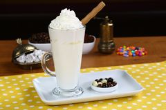 Hot white chocolate decorated with whipped cream Stock Photography