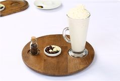 Hot white chocolate decorated with whipped cream Royalty Free Stock Photos