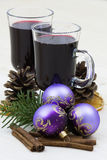 Hot wine and christmas decoration Royalty Free Stock Photography