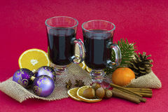 Hot wine and christmas decoration Royalty Free Stock Image