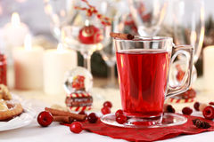 Hot wine cranberry punch Stock Image