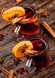 Hot wine drinks with spicy and sweet arrangement Stock Image