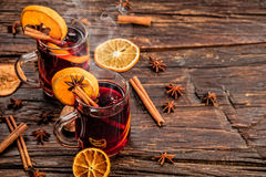 Hot wine drinks with spicy and sweet arrangement Stock Photo