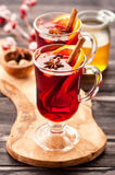 Hot wine mulled wine with spices Royalty Free Stock Photo