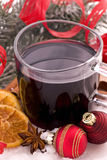 Hot wine punch. Cup of hot wine punch with christmas decoration Royalty Free Stock Photo