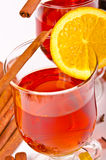 Hot wine punch. Wine Punch, with red wine, lemons, orange juice Royalty Free Stock Photo