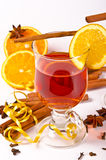 Hot wine punch. Wine Punch, with red wine, lemons, orange juice Royalty Free Stock Image
