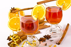 Hot wine punch. Wine Punch, with red wine, lemons, orange juice Royalty Free Stock Photography