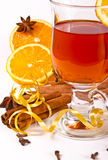 Hot wine punch. Wine Punch, with red wine, lemons, orange juice Stock Photos