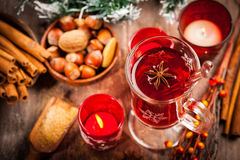 Hot wine punch with ingredients for Christmas Stock Photography