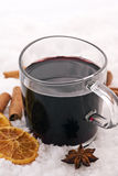 Hot wine in Snow Royalty Free Stock Image