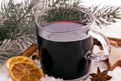 Hot Wine in Snow Royalty Free Stock Photos