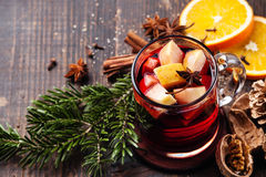 Hot wine with spices Stock Images