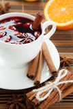 Hot wine for winter and Christmas with  almonds, Royalty Free Stock Photos