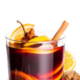 Hot wine for winter and Christmas Holidays with  orange and  spi Royalty Free Stock Images