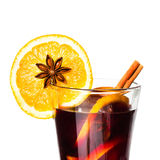 Hot wine for winter and Christmas Holidays with  orange and  spi Stock Photography