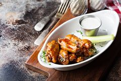 Hot wings with bbq sauce. Hot wings appetizer plate with barbecue sauce royalty free stock photos