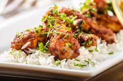 Hot wings with basmati rice. Grilled chicken wings Hot wings with basmati rice, topped with microgreens Stock Photos
