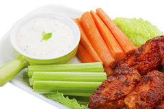 Hot Wings With Vegies and Dip Royalty Free Stock Photo