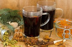 Hot winter drink. Hot wein (mulled wine or Gluhwein) of Christmas time Stock Photo