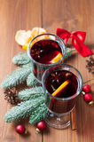 Hot winter drink (mulled wine) royalty free stock images