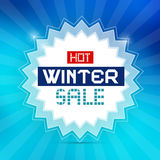 Hot Winter Sale Background. Hot Winter Sale Retro Blue Vector Background Stock Images