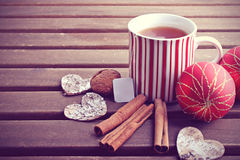 Hot winter tea and christmas decoration Royalty Free Stock Photo