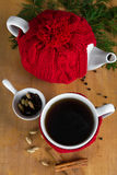 Hot winter tea with spices Stock Photo