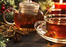 Hot winter tea with spices, close up Royalty Free Stock Images