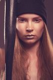 Hot woman bandit with baseball bat Stock Photography