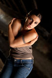 Hot woman with blue jeans Stock Image