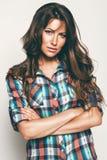 Hot woman in check shirt Royalty Free Stock Photos