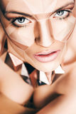 Hot woman with geometrical bodyart on face Royalty Free Stock Photos