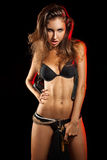 Hot woman with gun Stock Photo