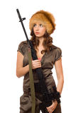 Hot woman with a rifle Royalty Free Stock Photo