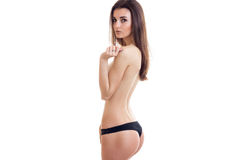Hot woman with sexual round ass without bra looking at the camera Stock Photo