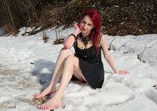 Hot woman in the snow Stock Photo