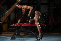 Hot Woman In Underwear Doing Exercise For Back. Young Woman In Underwear Doing Heavy Weight Exercise For Back With Dumbbell royalty free stock image