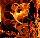 Hot Women On Fire. Vector illustration Royalty Free Stock Images