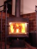 Hot wood stove Stock Photos