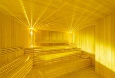Hot wooden sauna room interior Stock Image