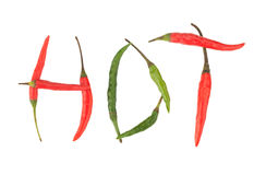 HOT word from chili peppers Royalty Free Stock Photo