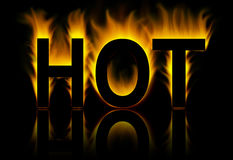 Hot word in fire. Hot word in abstract fire background Royalty Free Stock Photos