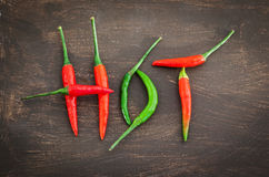 Hot word made from red and green chili pepper Royalty Free Stock Image