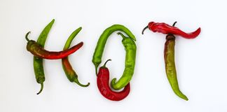 Hot word made from red and green hot chili pepper on white background royalty free stock images