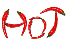 Hot word Thai chilies. With white background Royalty Free Stock Photos