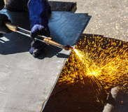 Hot work  steel Gas cutting Stock Images