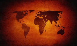 Hot world map, global warming Stock Images
