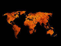Hot world map - global warming background concept Royalty Free Stock Photo